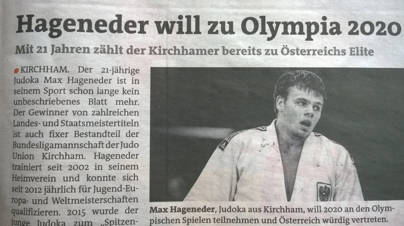 Sportlerportrait von Max Hageneder in der Bezirksrundschau !